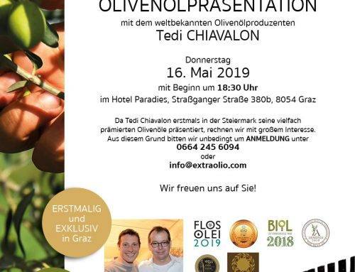 Olivenölpräsentation mit Tedi CHIAVALON am 16.05.2019 in Graz