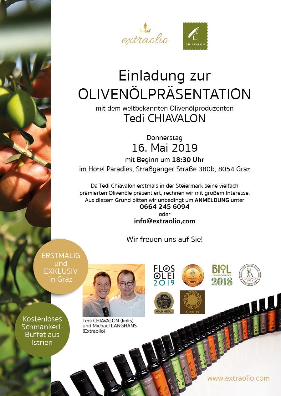 Olivenölpräsentation mit Tedi CHIAVALON in Graz